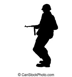 SOLDIER - Soldier silhouette with rifle made in 3d software
