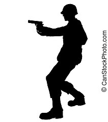 SOLDIER - Soldier silhouette with gun made in 3d software