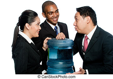 Office Gossip - Three colleagues stand around a water cooler...