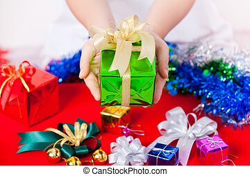 Celebration theme with christmas and new year gifts -...