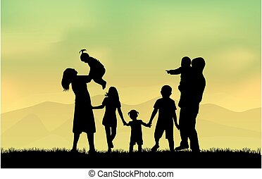 famiglia, silhouette,