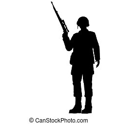 SOLDIER - Silhouette of young soldier in military helmet