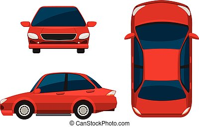 Car - Illustration of different view of a red car