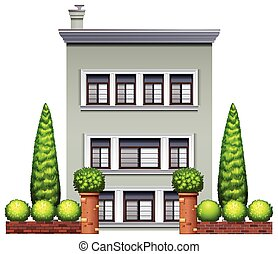 House - Illustration of a three stories house