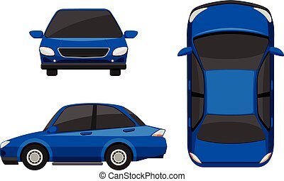 Car - Illustration of different view of a blue car