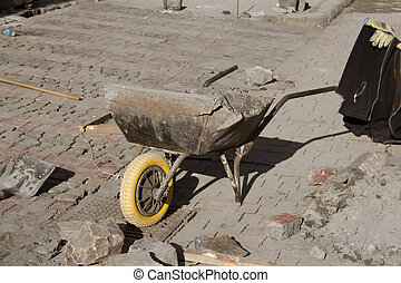 on pavement construction wheelbarrow