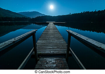 Dock At Night with Full Moon