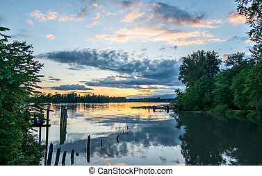 River View At Sunset - Sunset over the Fraser River.