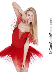 Girl in red dress - portrait of beautiful slavonic model...