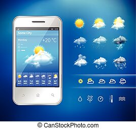 Mobile weather application - Realistic mobile phone with...