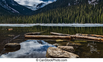Canadian Lake with Rocks and Snow Mountains - Rocks and ice...