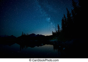 Milky Way over Forest and Lake - Forest and Lake below the...