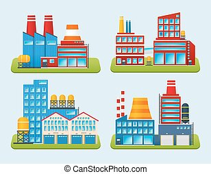 Industrial Building Set - Industrial edifice factory and...