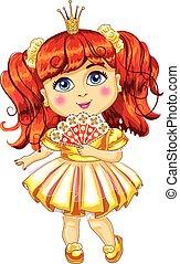 Cute little princess in a yellow dress Vector - Cute little...