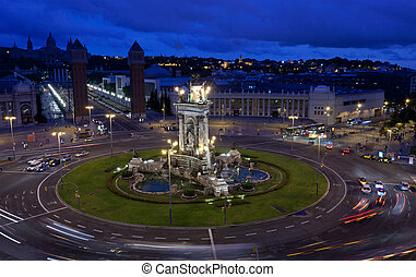 Espanya Square in Barcelona and National Palace at night,...