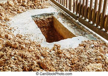 cavando, Buraco, ligado, concreto, chão,