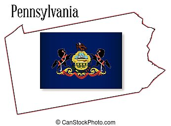 Pennsylvania State Map and Flag - Outline map of the state...