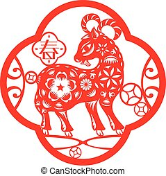 Chinese red Luck sheep illustration in paper cut style, the...