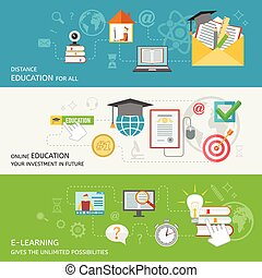 Online Education Banner - Online education banner set with...