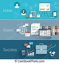 Business flat banner set with ideas vision success isolated...