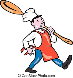 Chef Cook Marching Spoon Cartoon - Illustration of a chef...