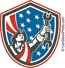 American Patriot Holding Spanner Shield Retro - Illustration...