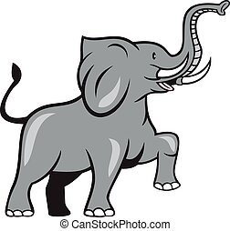 Elephant Marching Prancing Cartoon - Illustration of an...
