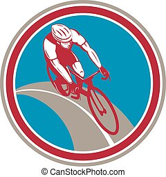 Cyclist Bicycle Rider Circle Retro - Illustration of a...