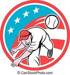 Baseball Pitcher Outfielder Throwing Ball Circle Cartoon -...