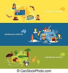 Australia flat banner set - Australia travel flat banner set...