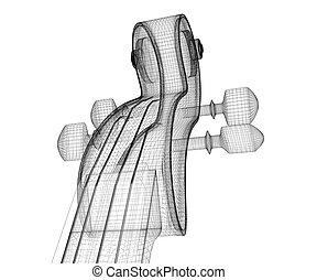 violin model , body structure, wire model