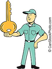 Locksmith Balancing Key Palm Cartoon - Illustration of a...