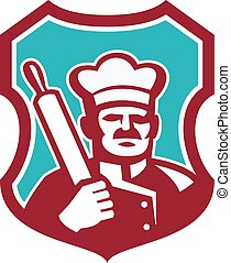 Baker Chef Cook Rolling Pin Shield Retro - Illustration of a...