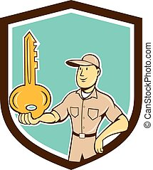 Locksmith Balancing Key Palm Shield Cartoon - Illustration...