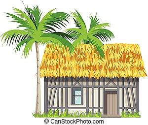 a, maison, à, a, couvert chaume, toit, et, paume,...