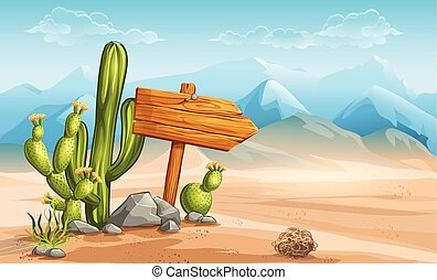 A wooden sign in the desert mountains in the background