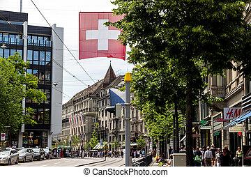 switzerland, zurich, bahnhofstrasse - bahnhofstrasse in...