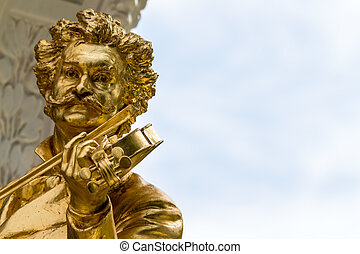 austria, vienna, johann strauss monument - the johann...