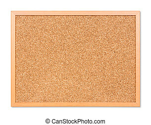 Corkboard - Close up blank corkboard isolated on white with...