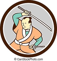 Samurai Warrior Katana Sword Circle Cartoon
