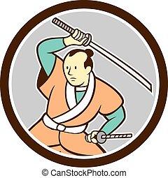 Samurai Warrior Katana Sword Circle Cartoon