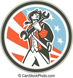 American Patriot Holding Wrench Circle Retro - Illustration...