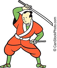 Samurai Warrior Wielding Katana Sword Cartoon