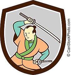 Samurai Warrior Katana Sword Shield Cartoon