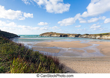 Porth beach and Trevelgue Newquay - Porth beach Newquay...