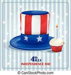 Greeting card for Independence Day on July 4.