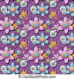 A seamless pattern of buttons in the shape of flowers
