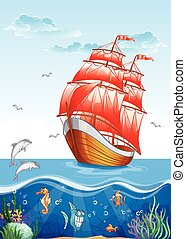Children's illustration of a sailboat with red sails and the...