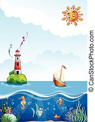 Children's illustration of sea with lighthouse, sailing and fun fish