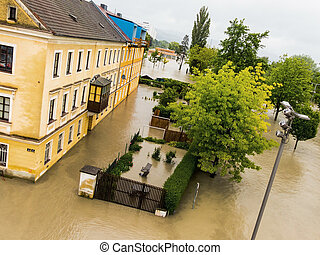 flood 2013 linz, austria inundation and flooding